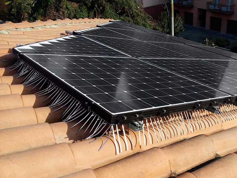 installazione di anti piccione su pannelli solari neri